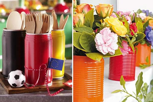 Super original: latas se transformam em lindos e delicados organizadores e vasinhos