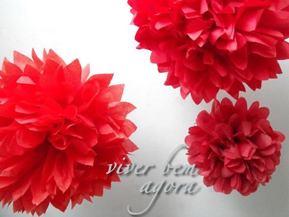 Pompons de papela - baloes ecologicamente corretos e lindos - Viver Bem Agora