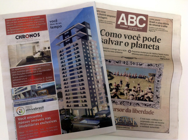 Anúncio no ABC Classificados de domingo